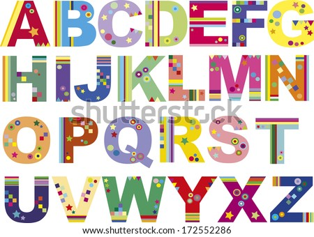 illustration of funny colored alphabet