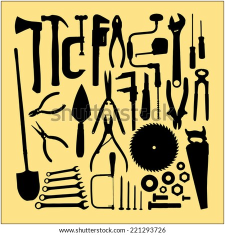 illustration of garden tools, carpenter's tools