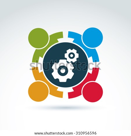 Illustration of gears, enterprise system theme, international business strategy concept. Cog-wheels, moving parts and people,?? components of manufacturing process.  - stock photo