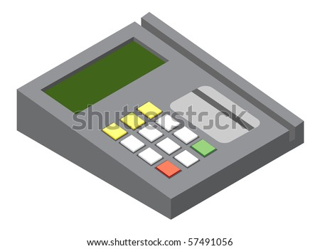 Illustration of generic credit card reader device. Vector version is available.