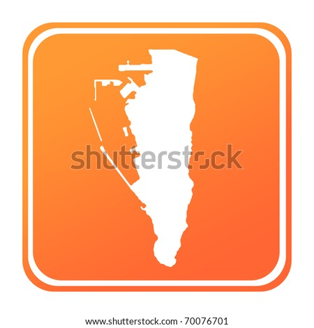 Illustration of Gibraltar map button; isolated on white background.