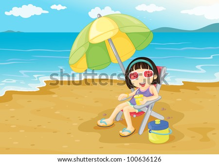 Illustration of girl on the beach - EPS VECTOR format also available in my portfolio. - stock photo