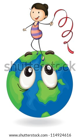 illustration of girl playing on earth globe on a white