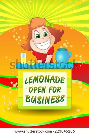 illustration of girl sell cold lemonade drink on fancy fresh background - stock photo