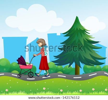 Illustration of girl with a baby stroller along the road - stock photo