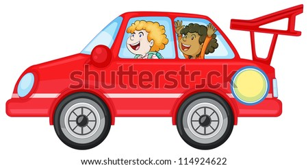 illustration of girls in a car on white background