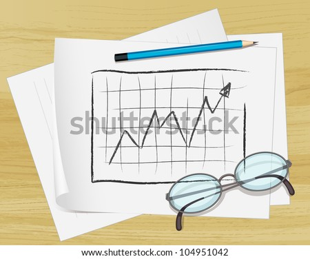 Illustration of glasses, pencil and notes on paper - EPS VECTOR format also available in my portfolio. - stock photo