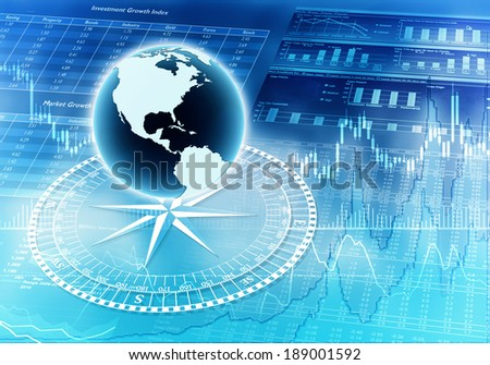 Illustration of global financial concept with a globe, compass and financial report graphic as background - stock photo