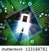 Illustration of glowing padlock on computer chip circuit board. Concept of security and hardware lock. - stock photo