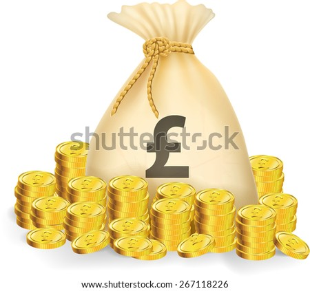 Illustration of gold coin with bag of money - stock photo