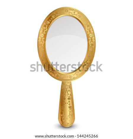 Illustration of gold mirror - stock photo