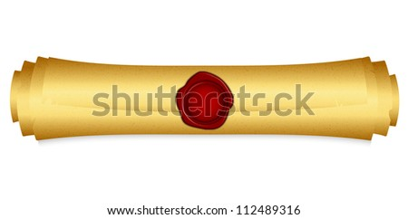 illustration of gold scroll with red wax seal - stock photo