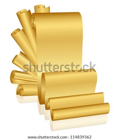 Illustration of gold scrolls - stock photo