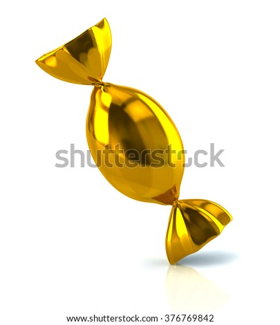 Illustration of golden candy isolated on white background