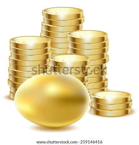 Illustration of golden egg end coins on a white background.  - stock photo