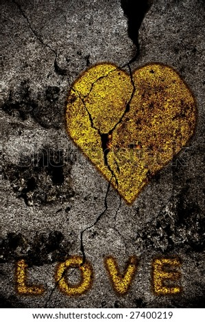 Illustration of golden heart with LOVE on a grunge background - stock photo