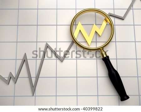 Illustration of golden magnifier on business diagram chart - 3d render - stock photo