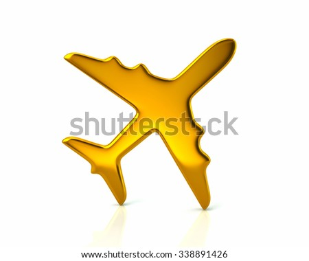 Illustration of golden plane on white background - stock photo