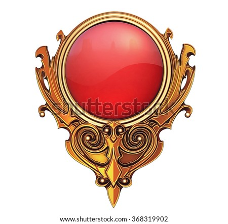 Illustration of golden with red gem button - stock photo