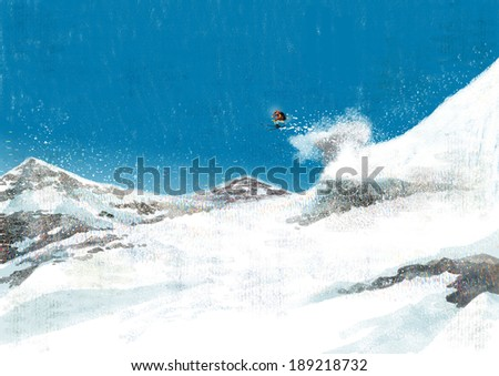 Illustration of gorgeous landscape and skiing