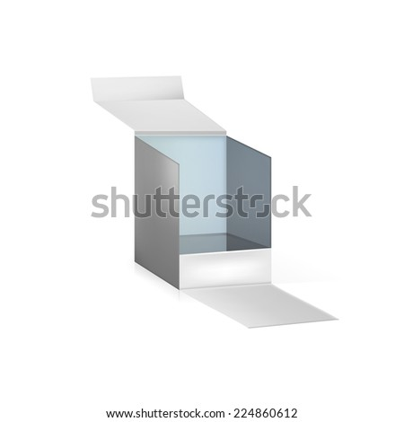 Illustration of gray opened box. Gray opened box for gift packing or delivery. Isolated illustration on white background. - stock photo