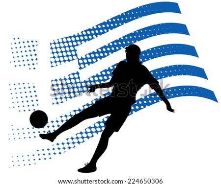 illustration of greece soccer player silhouette against national flag isolated on white