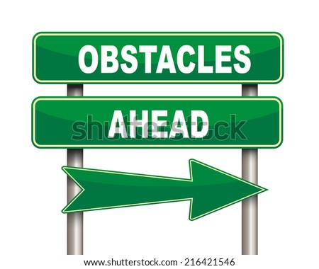 Illustration of green arrow and road sign of Obstacles ahead concept - stock photo