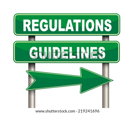 Illustration of green arrow and road sign of regulations guidelines concept - stock photo