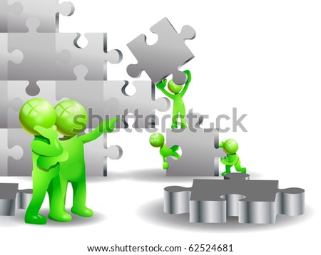 illustration of green business people teamwork try to finish a big puzzle - stock photo
