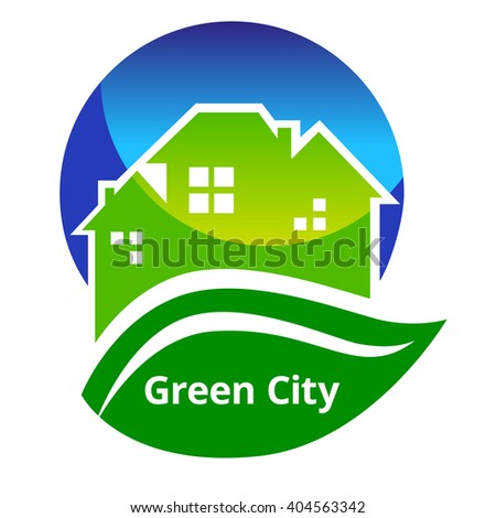 Illustration of green city poster. Green city icon jpeg. Green city logo concept