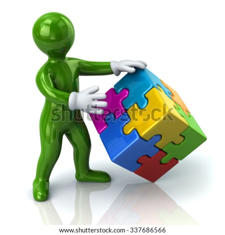 Illustration of green man and colorful 3d puzzle cube - stock photo