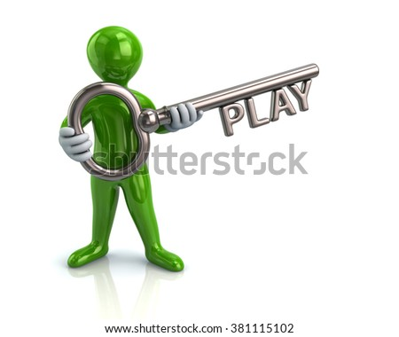 Illustration of green man and silver key with word play - stock photo