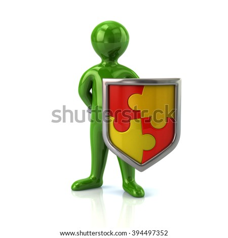 Illustration of green man with puzzle shield isolated on white background - stock photo