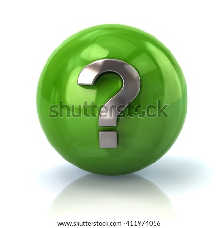 Illustration of green sphere with silver question mark isolated on white background