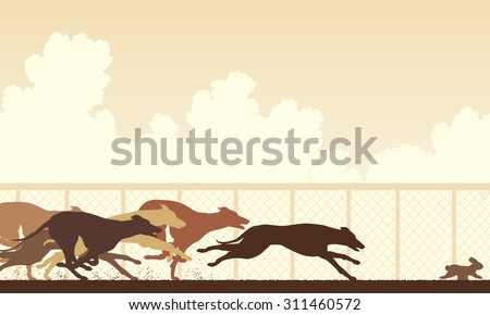 Illustration of greyhound dogs racing around a track - stock photo