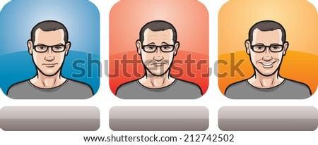 illustration of guy in glasses face in three expressions: neutral, sad and happy - stock photo