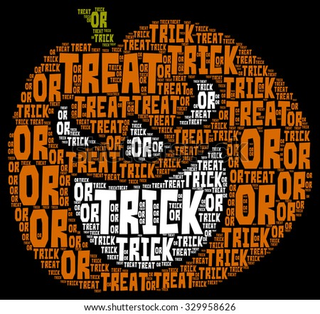 illustration of Halloween word cloud in shape of a pumpkin