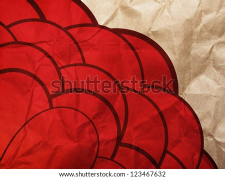 Illustration of hand drawn flower of red color on grunge paper background.