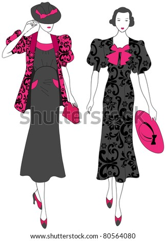 Illustration of hand drawn style elegant vintage fashion ladies - stock photo