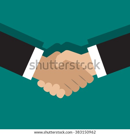 Illustration of handshake. Flat style design