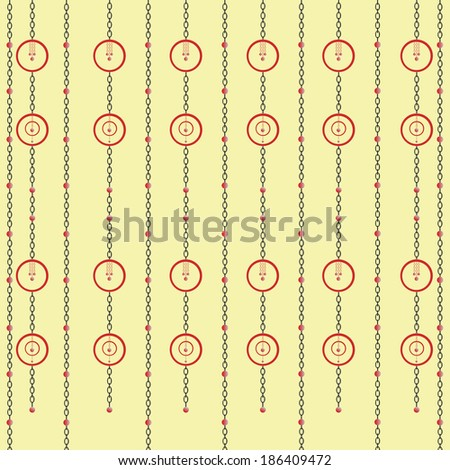 Illustration of hanging chains with circles decor pattern background./Chains - stock photo