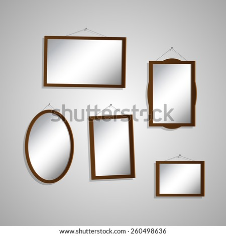Illustration of hanging mirrors on a light background. - stock photo