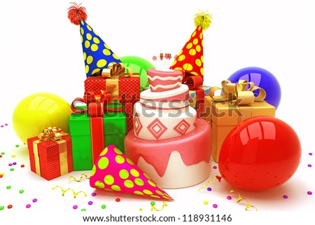 illustration of happy birthday background with cake and balloon - stock photo