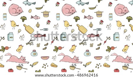 Watercolor hand drawn toys kids seamless stock for Happy fish and chicken
