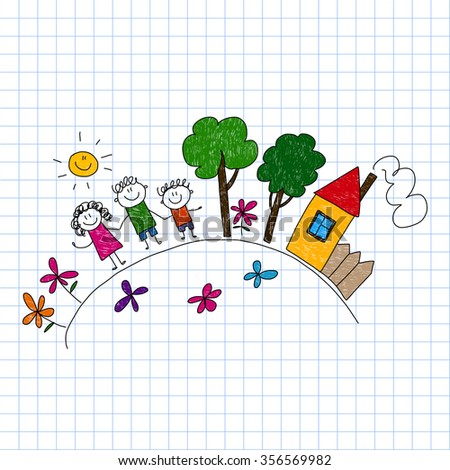 Illustration of happy family. Kids drawing style image. - stock photo