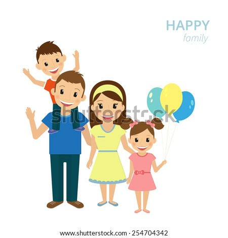 illustration of happy family. Smiling dad, mom and two kids isolated on white - stock photo