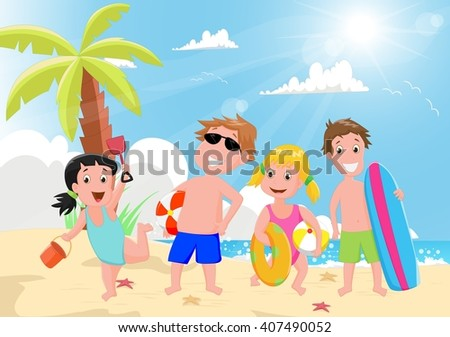 illustration of happy kids playing on the summer beach - stock photo