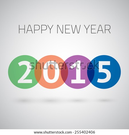 Illustration of Happy New Year 2015 Colorful Circles Background