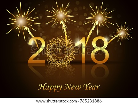illustration of happy new year 2018 with gold color