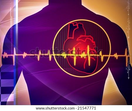 Illustration of heart with pulse graph - stock photo